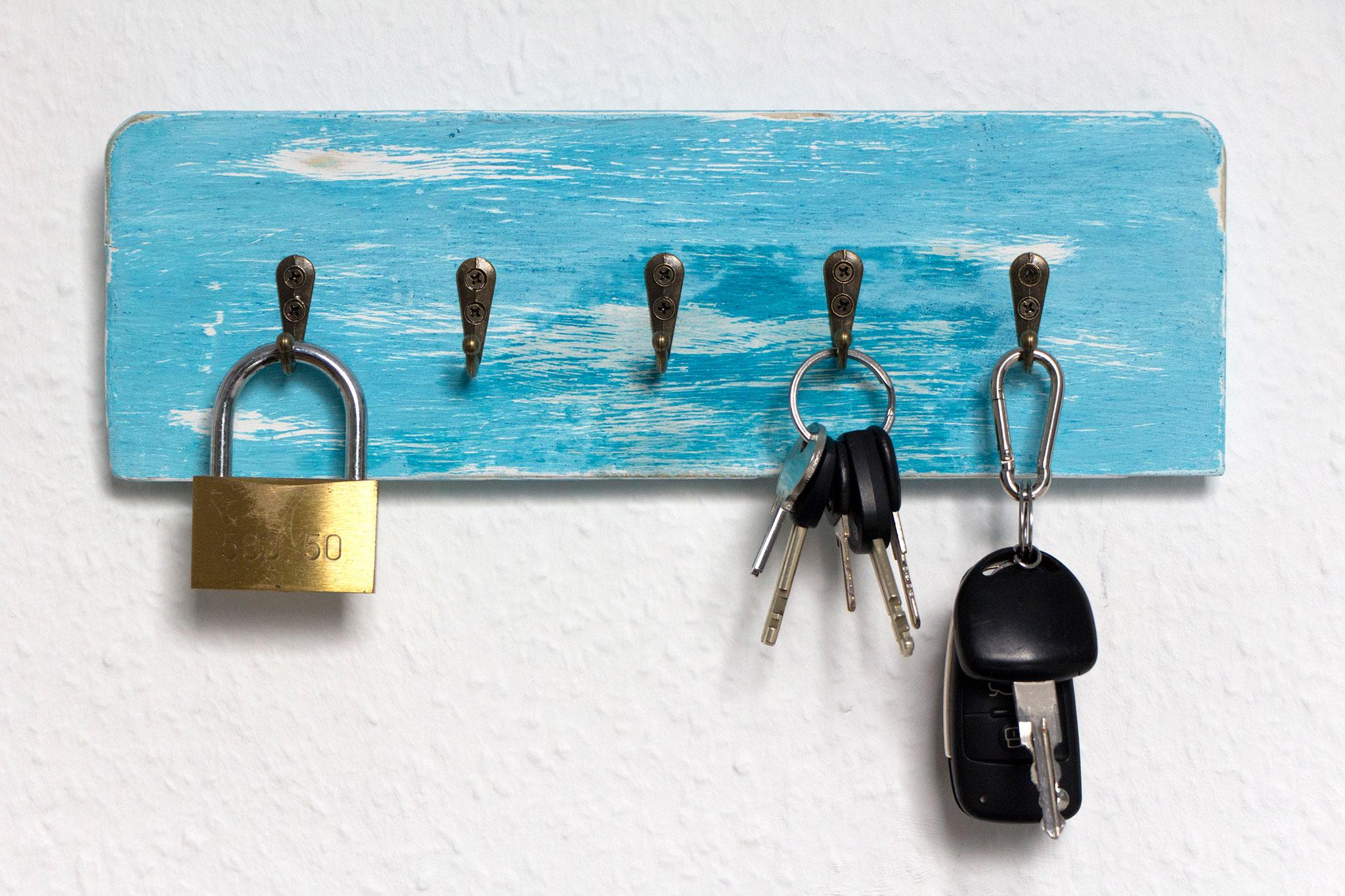 Schlüsselbrett im Vintage-Stil, Türkis, upcycled
