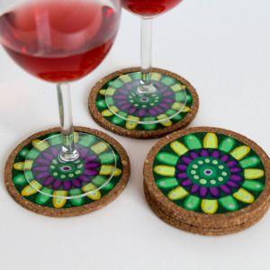 Kork-Untersetzer-Set im Mandala-Stil in Grün-Gelb von FitzeFatze Design