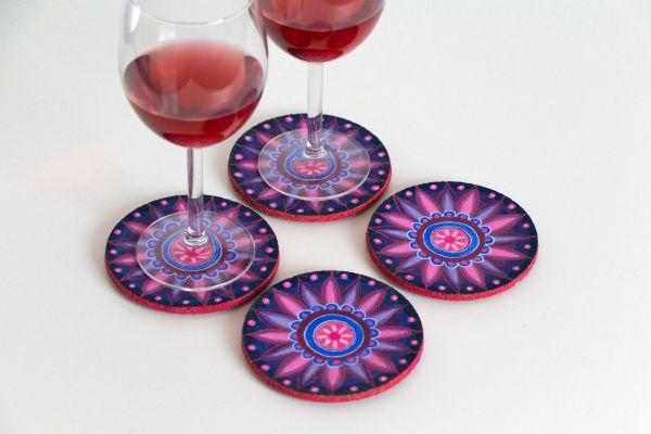 Kork-Untersetzer-Set im Mandala-Stil in Blau-Pink von FitzeFatze Design